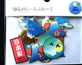 Mount Fuji Stickers - Mountain Stickers - Chiyogami Stickers - Japanese Stickers - Sticker Flakes - 40 Stickers - S89