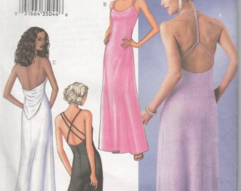 Gown Dress 12 14 16 Backless Strap Variations Sew Pattern