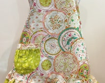 Full womens's apron small medium in bright spring colors.