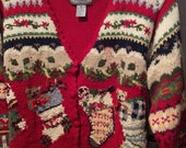 Sale....Reduced 5.00 and reduced shipping....Red Ugly Christmas sweater cardigan,swedish look,lots of design,stockings,bells,ribbon,red Sale