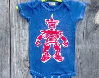 Batik hand dyed robot organic cotton one piece Baby boys' Clothing navy blue Eco friendly hand drawn hand painted bodysuit 3 to 24 months