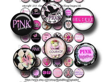 Breast Cancer Awareness, 20 mm circles,   INSTANT Digital Download at Checkout, collage sheets for breast cancer pendants, pink ribbons