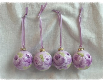 """2.5"""" ORNAMENTS Hand Painted  Lavender Roses Glass Round Ball ecs SVFTeam sct schteam"""
