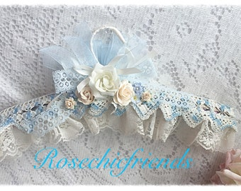 Blue and Cream Bridal Lacy Padded Hanger Chic Shabby Roses ECS svfteam