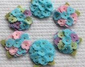 New Aqua Wool Felt Mini Hydrangeas