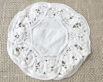 Cotton Doily, White Doily, Small Doily, Round Doily, Dresser Doily, Openwork Doily, Vintage Doily