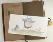 Totoro Skipping Rope Watercolor Illustration Laminated Shitajiki Pencil Board for Travelers Notebook