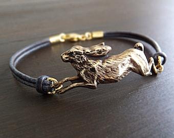 Rabbit Hare Jewelry Bracelet - Gold Brass Bunny Charm - Jackrabbit Jewelry - Grey Leather Cord - Gift for Her - Woodland Animal - Women