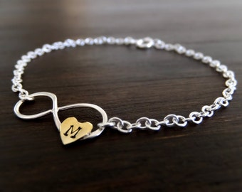 Infinity of the Heart Jewelry Bracelet - Gold Heart Charm - Custom Personalized Letter - Sterling Silver Infinity Bracelet - Gift for Her