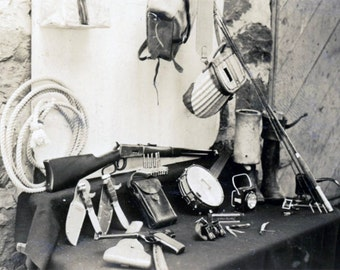 Vintage photo 1931 Sport Equiptment Knife Gun Rifle Banjo Still Life Woman's Tools snapshot