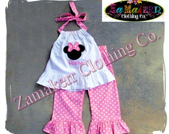 Girl Minnie Mouse Outfit Set -  Pink Polka Dot Pant Set - Girl Top Ruffle Outfit Set Size 3 6 9 12 18 24 month 2T 2 3T 3 4T 4 5T 5 6 7 8
