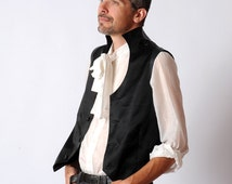 Men's black waistcoat, Black high collar waistcoat, Black steampunk waistcoat with leather details, Mens fashion, For the groom