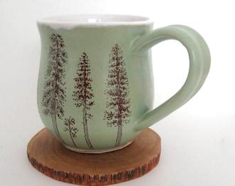 Ceramic Mug - Coffee Mug - Large Mug - Ponderosa Pine Trees - Hand Thrown Mug - Stoneware Mug
