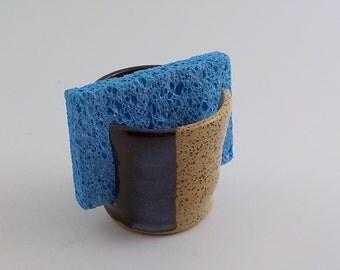 Handmade Ceramic Sponge Holder - Stoneware Sponge Dryer - Kitchen Accessory - Paper Napkin Caddy - Ready to Ship - Straw and Temmoku h430a