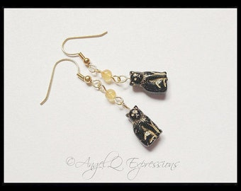 Bastet the Egyptian Cat Goddess Black Cat Earrings with Quartzite OOAK