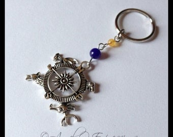 Game of Thrones The Houses Compass Pendant Charm Keychain with Blue Aventurine and Quartzite