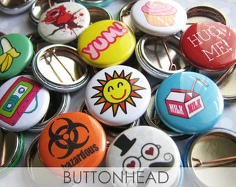 Buttons Pins Badges - 10 Random 1 Inch Small From My Private Stash