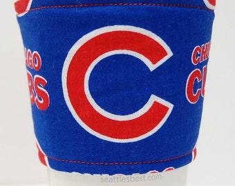 Coffee Cozy, Cup Sleeve, Eco Friendly, Slip-on, Co-Worker, Teacher Appreciation, Coach, Bulk Discount: Chicago Cubs MLB