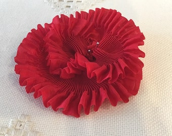"""Pleated Beautiful Red 100% Silk Ribbon 1-1/4"""" wide 1 Meter long, great for flowers or doll costuming"""