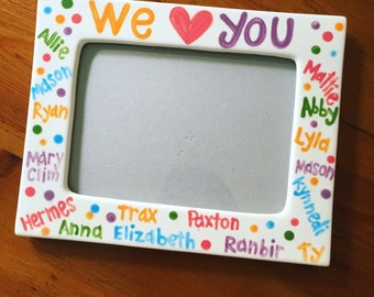 Teacher gift // handpainted personalized ceramic 5x7 picture frame // class photo // great class gift // personalize with children's names