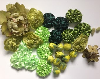 "Grab Bag no. 7 -- Over 30 Green Tones Silk Artificial Flowers- small to large size flowers - Some ""less than perfect"". was 13 USD"