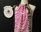 Will fit size L / xL - READY to MAIL - Ladies Pillowcase TOP - Zebra - Pink and Brown - by Boutique Mia