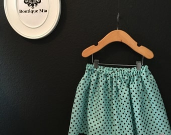 Will fit Size 3T to 5T - READY to MAIL - Children Skirt - Aqua and Brown Polka dot - by Boutique Mia and More