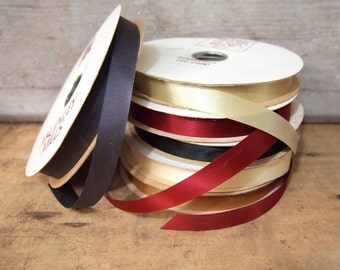 Lot of 6 rolls of woven Satin ribbon McGinley Mills Various New Old Stock You get all