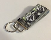 Mini Key Fob    ribbon / fabric on heavy cotton webbing