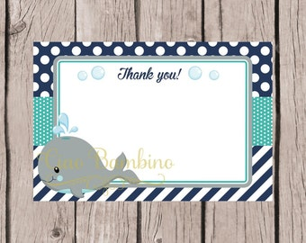 PRINTABLE Whale Thank You Card / 4x6 Thank You Card for Birthday or Baby Shower / Navy Blue, Gray & Turquoise / INSTANT DOWNLOAD - 0025