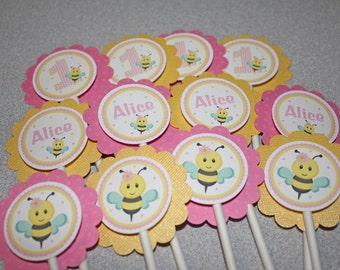 Pink Bee Cupcake Toppers / Bumble Bee Toppers / Bee Cupcake Toppers / Bumble Bee Birthday Party / Bee Baby Shower / Bee Cupcake Picks