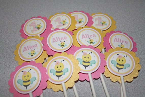Pink Bee Cupcake Toppers Bumble