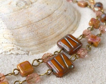 Bead Jewelry - Beaded Necklace - Orange Necklace - Autumn Colored Necklace - Handmade Jewelry - Handmade Necklace - Indian Summer Series