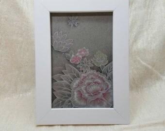 Peony Blossom Framed Original Color Pencil Drawing