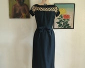 1950s dress cage dress silk dress size medium vintage dress mad men dress pat sandler dress