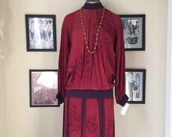 Sale 1980s drop waist dress 80s does the 20s hand painted silk dress size medium Vintage Sansappelle dress
