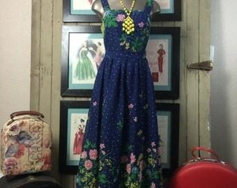 Sale 1970s maxi dress 70s sundress size small vintage dress blue floral dress Miss Elliette