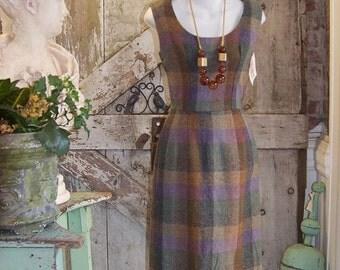Sale 1950s wool dress 50s wiggle dress size small Vintage plaid dress sleeveless brown day dress