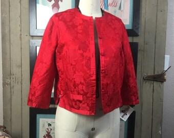 Fall sale 1950s jacket red jacket 50s jacket silk jacket size medium Vintage cropped jacket Asian brocade jacket