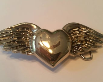 Heart and Wings Belt Buckle