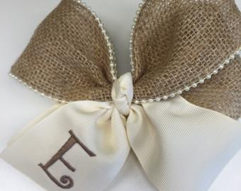 Rustic Initial, Hair Bows, Burlap Monogram Vintage Pearls, Cream Ivory Ecru, Large Hairbow, Barn Wedding Letter, Handmade Flower, Ribbon Tie