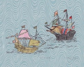 Two Ships II - Block Print with Mixed Papers - Lino Block Print Historic Sailing Ships, Exploration, Collaged Japanese Papers