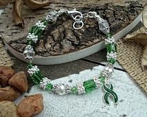 Kidney Disease, Cerebral Palsy, Organ Donor, Liver Cancer, Liver Disease, Organ Donor Recipient, DARK GREEN Awareness Bracelet Jewelry #SV