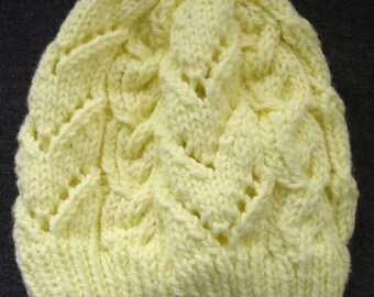 New Handmade Pale Yellow Chevrons and Cables Knit Hat - Women's Small