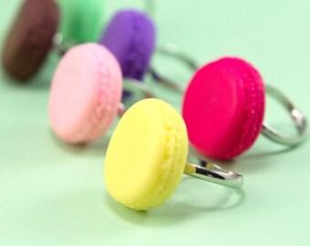 Lemon Macaron Ring - Adjustable Cookie Finger Ring - Yellow