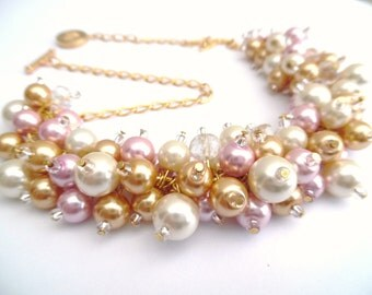 Pink Necklace, Pearl Beaded Jewelry, Bridesmaids Gift, Pink Ivory Gold Jewelry, Pearl Wedding Jewelry, Chunky Necklace, Statement Jewelry