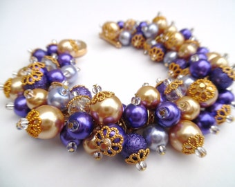 Purple Pearl Bracelet, Bridesmaid Jewelry, Purple & Gold Cluster Bracelet, Beaded Bracelet, Wedding Jewelry, Bridesmaid Gift, Wedding Theme