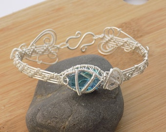 Aqua Aura Quartz Faceted Stone and Diamond Quartz Sterling Silver Wire Wrapped Bangle Hook Cuff Bracelet Wire Wrapped Jewelry Handmade