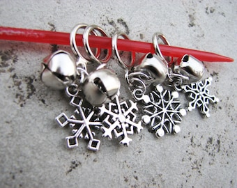 Sleigh Bells Ring! Snowflake and Snow Non-Snag Stitch Markers for Knitting and Crochet
