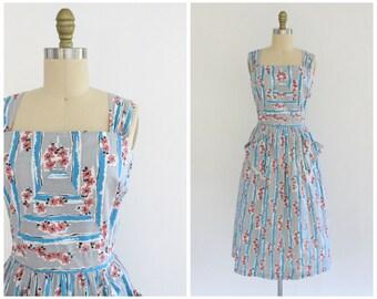 vintage 30s floral day dress | 1930s grey striped floral print dress | 30s gray cotton apron style dress | x-small xs